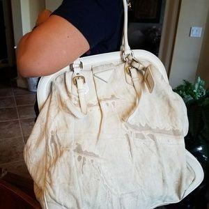 Authentic Prada Beige Leather/Nylon CO Handbag